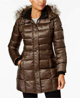 Bernardo Faux-Fur-Trim Hooded Puffer Coat