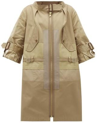 Junya Watanabe Patchwork Cotton-blend Gabardine Coat - Beige