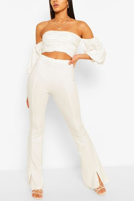 boohoo Tall Split Front Tailored Flares