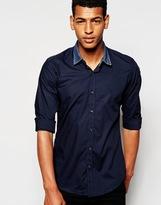 Antony Morato Shirt With Contrast Denim Collar - Blue
