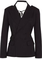 Facetasm Open-back Pinstriped Wool-blend Blazer - Navy