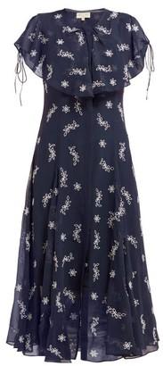 Beulah - Asmi Floral Broderie Anglaise Silk Midi Dress - Womens - Navy White