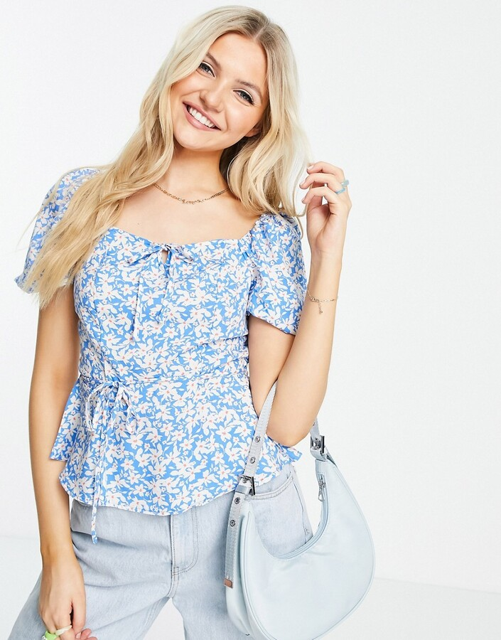 New Look square neck tiered blouse in blue ditsy floral