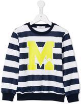 MSGM logo print striped sweatshirt - kids - Cotton - 10 yrs