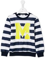 MSGM logo print striped sweatshirt - kids - Cotton - 6 yrs
