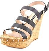 French Connection Deon Women Open Toe Leather Black Wedge Sandal.