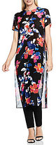 Vince Camuto Short Sleeve Floral Rendezvous Long Tunic with Slits