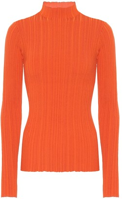 Acne Studios High-neck ribbed cotton-blend top
