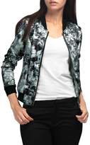 Allegra K Women's Long Sleeves Stand Collar Zip Up Floral Bomber Jacket Grey XL