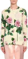 Dolce & Gabbana Floral Knit Cashmere/Silk Button-Front Cardigan