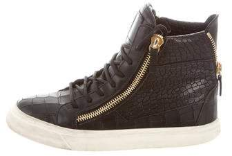 Giuseppe Zanotti Embossed Leather High-Top Sneakers