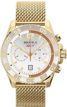 Brera Orologi Sport Mens Mistral Diver Watch Yellow Gold White Dial Yellow Gold Mesh Bracelet