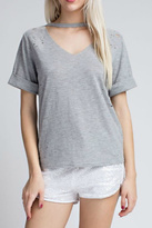 Honey Punch Grey Distressed Tee