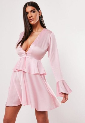 Missguided Pink Satin Plunge Button Peplum Skater Dress