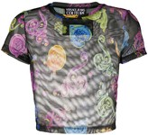 Versace abstract print sheer top