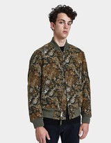 Engineered Garments Aviator Hummingbird Jacquard Jacket in Olive