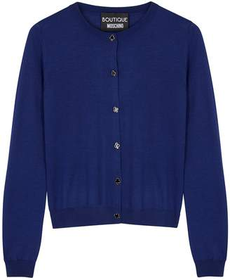 Moschino Navy Knitted Wool Cardigan