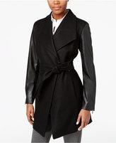 Calvin Klein Faux-Leather-Sleeve Belted Walker Coat
