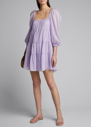 Alice + Olivia Rowen Tiered Square-Neck Tunic Dress