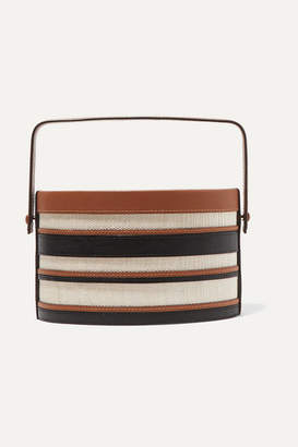Hunting Season Trunk Striped Leather And Raffia Tote - Black