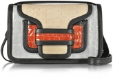 Pierre Hardy Alpha Multicolor Croco Embossed Patent Leather Crossbody Clutch