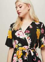 Miss Selfridge Petite black floral printed playsuit