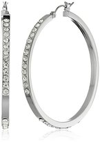 Jessica Simpson Rhodium/Crystal Semi Pave Hoop Earrings
