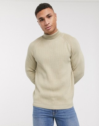 ASOS DESIGN knitted fisherman rib roll neck sweater in oatmeal