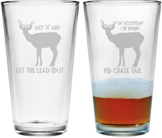 Susquehanna Glass Hunting Theme Pint Glasses (Pair of 2) 16 oz