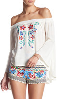 Flying Tomato Embroidered Off-The-Shoulder Blouse