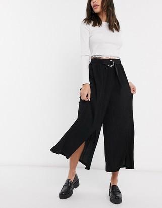 Bershka wide leg cropped plisse trousers with split front in black