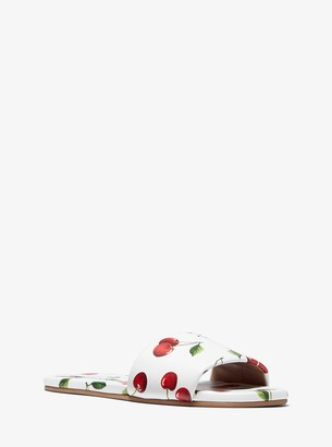 Michael Kors Delphine Cherry-Print Leather Slide Sandal