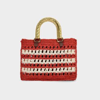 MEHRY MU Lucia Mini Bag In Red And Cream Raffia