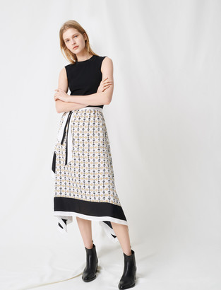 Maje Black dress with scarf-style motifs