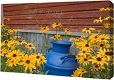 Canvas Art USA WA, Blue milk can sits amid garden flowers by Don Paulson - Gallery Wrapped Giclee Canvas Art Print - Ready to Hang