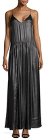 Jill Stuart Taw Metallic Chiffon Maxi Slip Dress