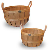 Natural Basket with Black Leather Handle