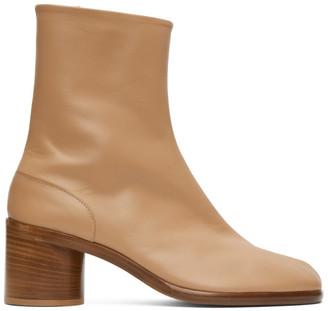 Maison Margiela Tan Mid Heel Tabi Boots