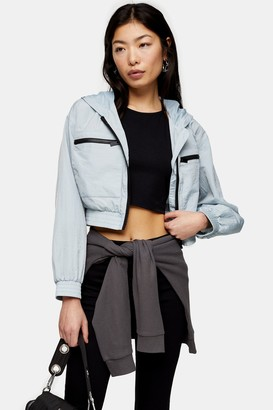 Topshop Womens Petite Blue Shell Cropped Jacket - Blue