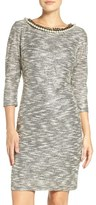 Chetta B Embellished Neck Metallic Knit Sheath Dress