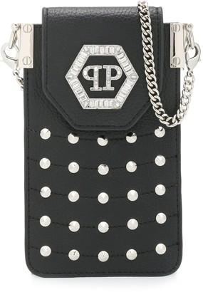 Philipp Plein Hexagon embellished mobile-case bag