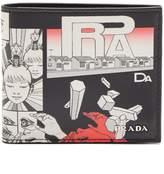 Prada Comic-print leather bi-fold wallet