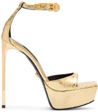 Versace snakeskin Medusa platform sandals
