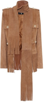 Balmain Embellished suede jacket