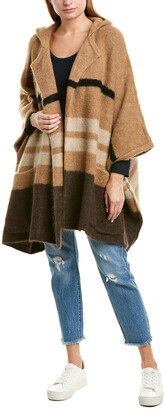 James Perse Patchwork Hooded Mohair & Wool-Blend Poncho