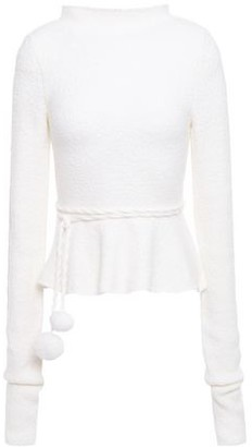 Victoria Beckham Pom Pom-embellished Boucle-knit Wool-blend Peplum Sweater