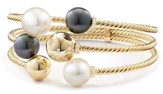 David Yurman Solari Three-Row Bracelet with Cultured South Sea White Pearl, Cultured Tahitian Gray Pearl & Diamonds in 18K Gold