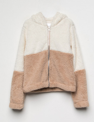 White Fawn Color Block Sherpa Girls Jacket