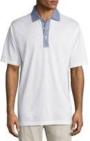 Peter Millar Cotton Gingham-Trim Polo Shirt, White/Patriot Navy