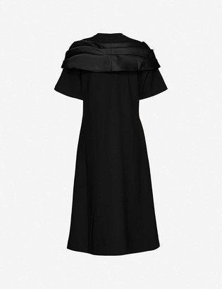 Simone Rocha Bow-embellished jersey and satin midi dress